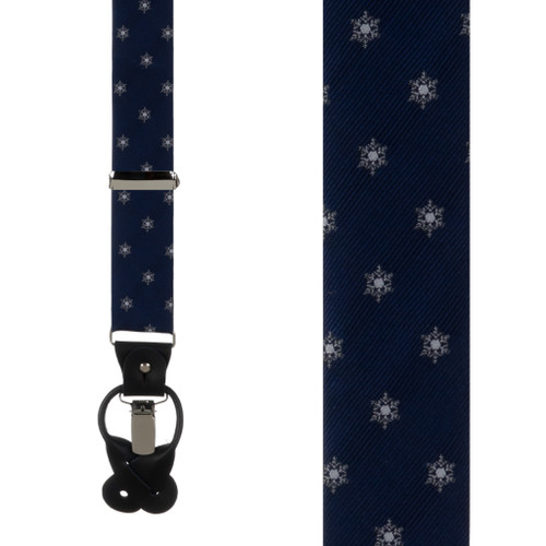 Snowflakes on Navy Suspenders - Front View
