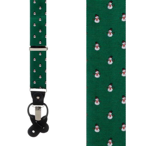 Snowmen on Green Suspenders - Front View