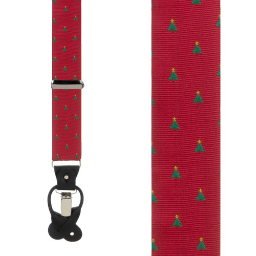 Christmas Tree on Red Suspenders - Front View