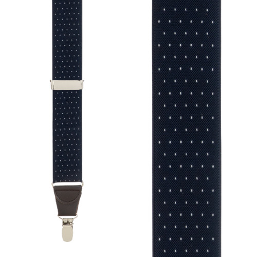 Woven Pin Dot Suspenders in Navy - Front View