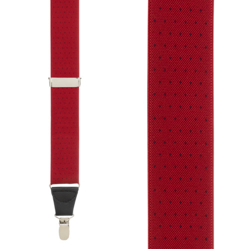 Woven Pin Dot Suspenders in Red - Front View