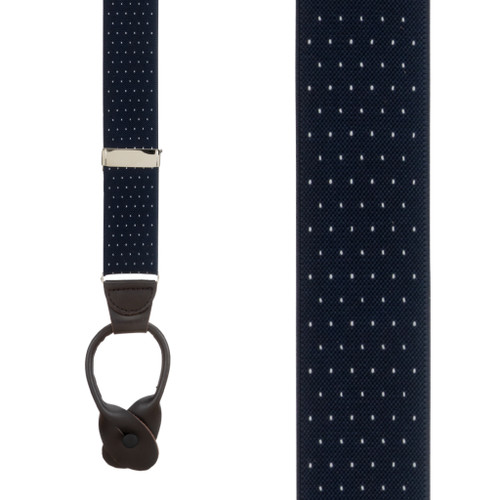 Woven Pin Dot Button Suspenders in Navy - Front View