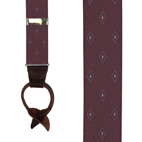 Burgundy Jacquard Woven Diamond Suspenders - Front View