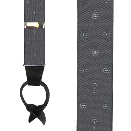Grey Jacquard Woven Diamond Suspenders - Front View