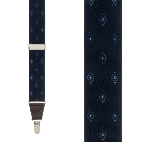 Jacquard Woven Diamond Suspenders in Navy - Front View