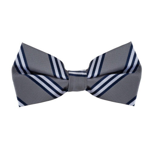 Grey & Navy Multi-Stripe Bow Tie