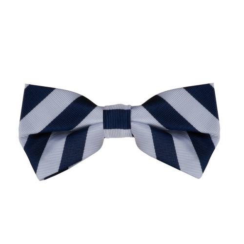 Navy & White Striped Bow Tie