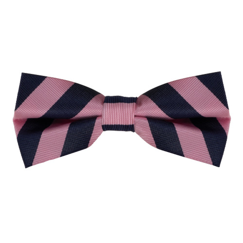 Pink & Navy Striped Bow Tie