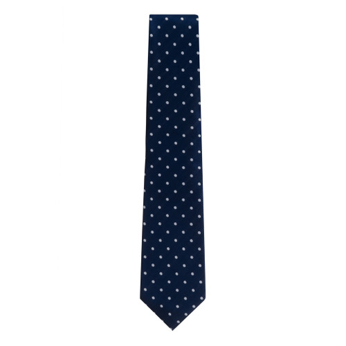Navy With White Polka Dots Necktie