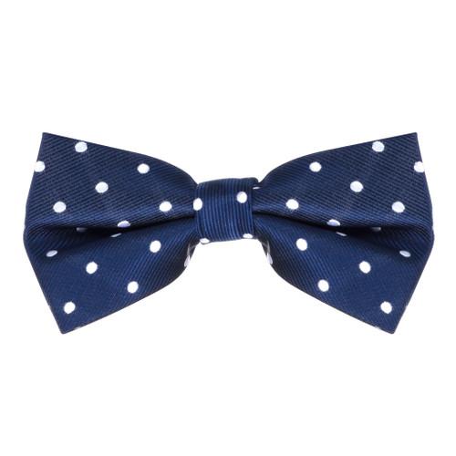 Navy & White Polka Dot Bow Tie