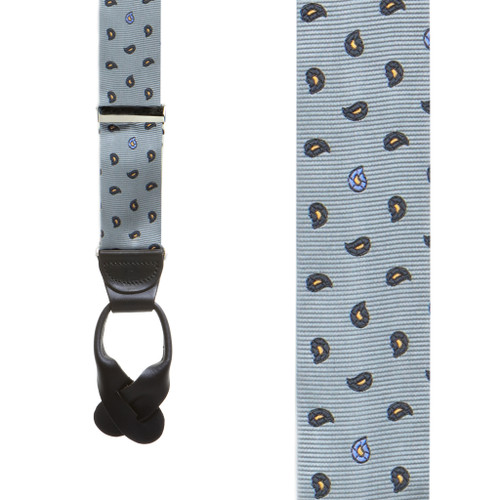 Silk Paisley Button Suspenders in Grey - Front View