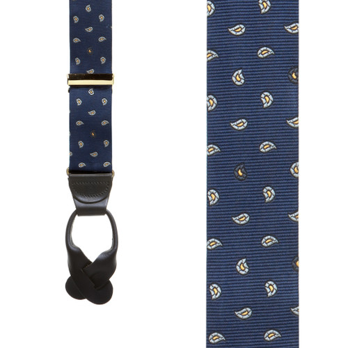 Silk Paisley Button Suspenders in Navy - Front View