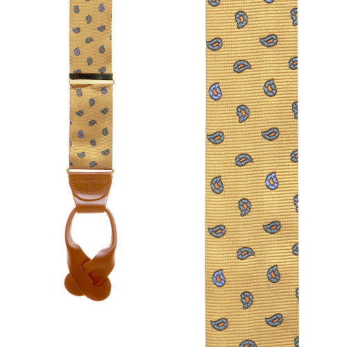 Silk Paisley Button Suspenders in Gold - Front View