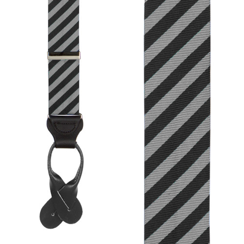 Silk Striped Suspenders in Black & Grey - Front View