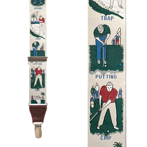 Vintage Ribbon Golf Talk Suspenders - Front View