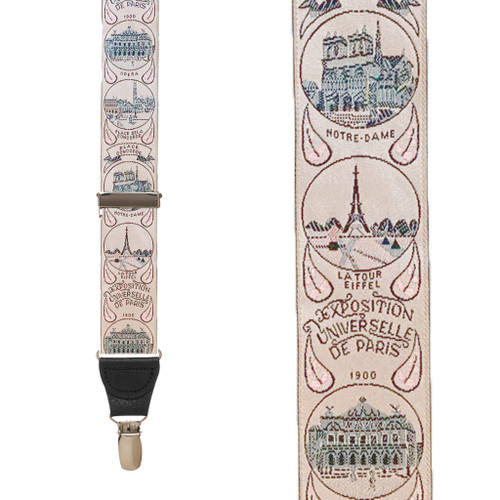 Vintage Ribbon World's Fair Suspenders - Front View