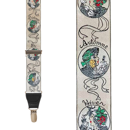 Vintage Ribbon Four Seasons Suspenders - Front View