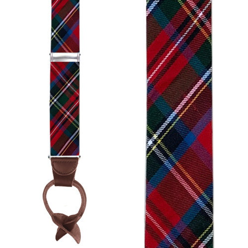 Tartan Plaid Suspenders in Royal Stewart - Front View