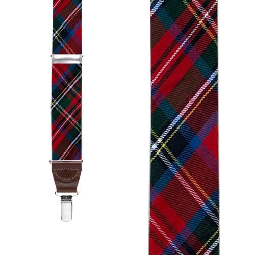 Royal Stewart Tartan Plaid Suspenders - Clip - Front View