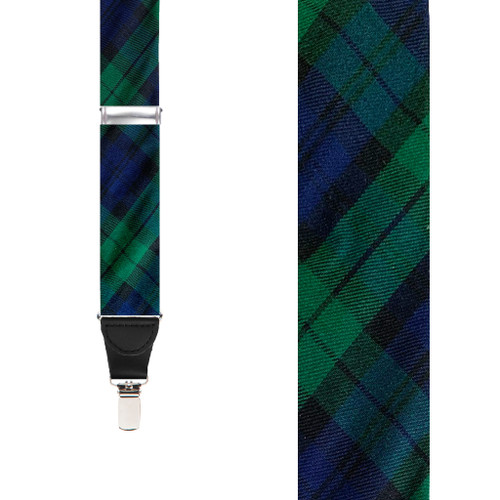 Tartan Plaid Clip Suspenders in Black Watch - Front View