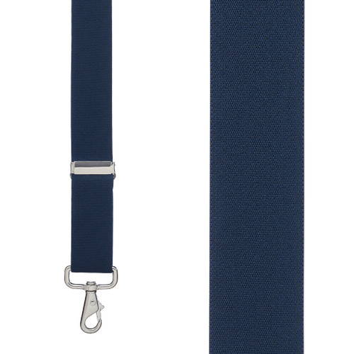 1.5 Inch Wide X-Back Trigger Snap Suspenders in Navy - Front View