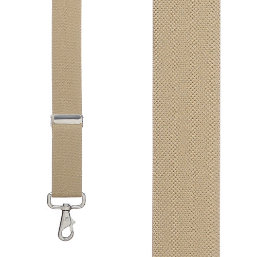 1.5 Inch Wide X-Back Trigger Snap Suspenders in Tan - Front View