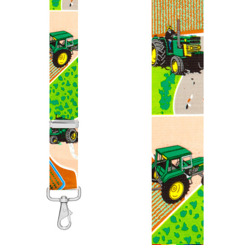 GREEN TRACTORS 1.5-Inch Wide Trigger Snap Suspenders - Front View