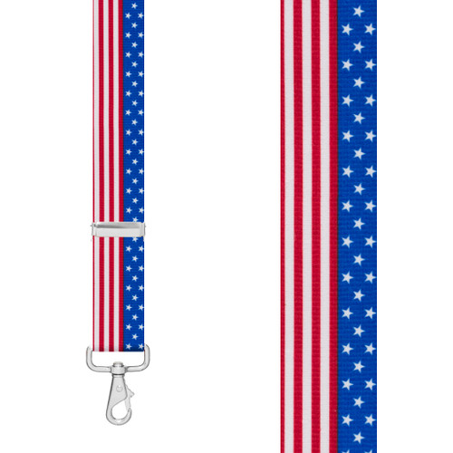 STARS & STRIPES 1.5-Inch Wide Trigger Snap Suspenders - Front View