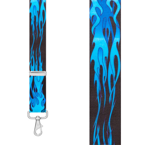 BLUE FLAMES 1.5-Inch Wide Trigger Snap Suspenders - Front View