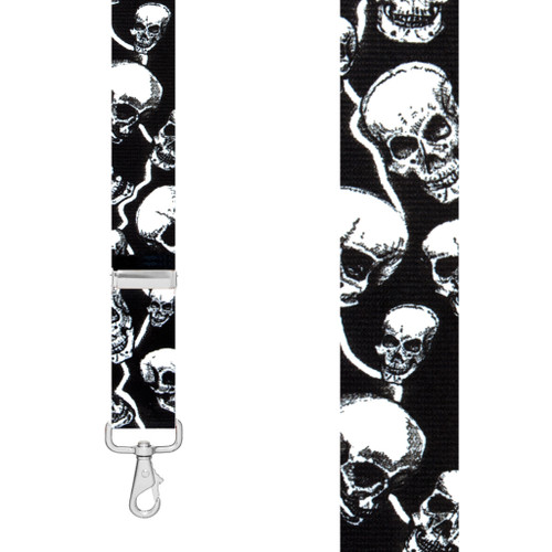 SKULL 1.5-Inch Wide Trigger Snap Suspenders - Front View