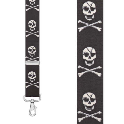 CROSSBONES 1.5-Inch Wide Trigger Snap Suspenders - Front View