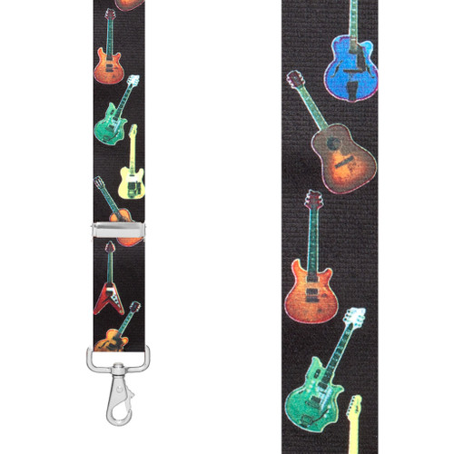 GUITAR 1.5-Inch Wide Trigger Snap Suspenders - Front View