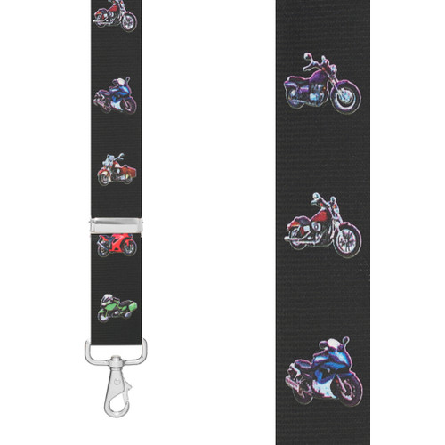 MOTORCYCLE 1.5-Inch Wide Trigger Snap Suspenders - Front View