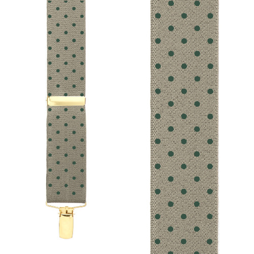 Polka Dot Suspenders with Brass Clips - Hunter on Khaki - Front View