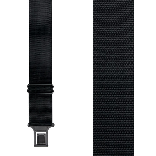 BLACK Perry Work Suspenders - 2 Inch Wide Belt Clip - Front View