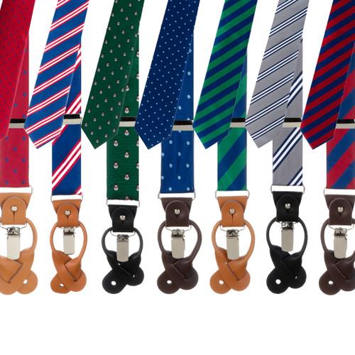 Oxford Kent Necktie & Suspender Set - Various Options