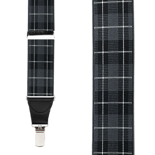 1.5 Inch Plaid Suspenders in Grey - Front View