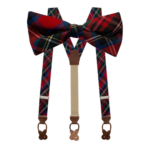 Bow Tie & Suspenders Set in Royal Stewart - Button
