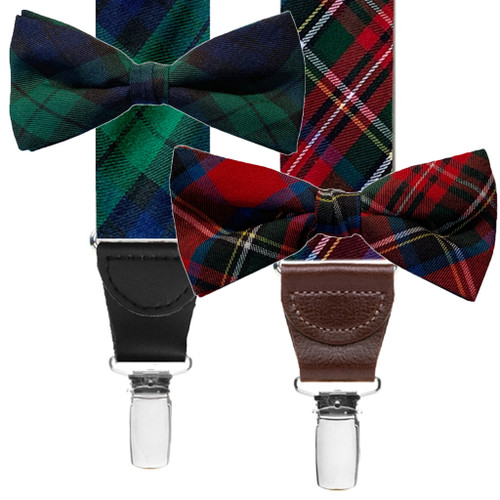 Tartan Bow Tie and Suspenders Sets with Drop Clips - Both Colors