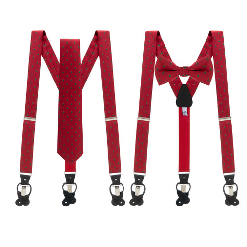 Tie and Suspenders Sets in Christmas Tree on Red Pattern