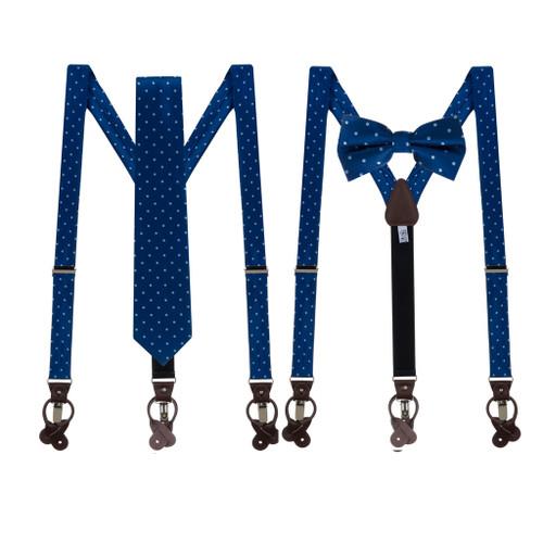 Tie and Suspenders Sets in Navy & Copenhagen Polka Dot Pattern