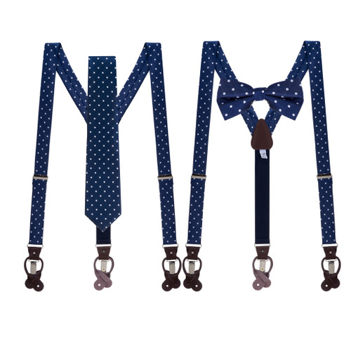 Tie and Suspenders Sets in Navy & White Polka Dot Pattern