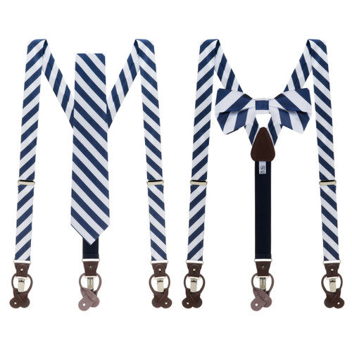 Tie and Suspender Sets - Navy & White Bold Stripe by Oxford Kent