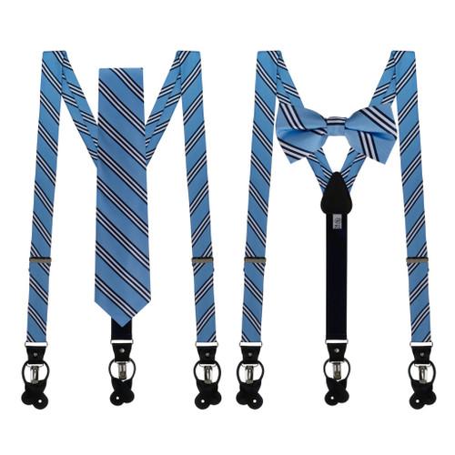 Tie and Suspender Sets - Copenhagen & Navy Multi Stripe by Oxford Kent