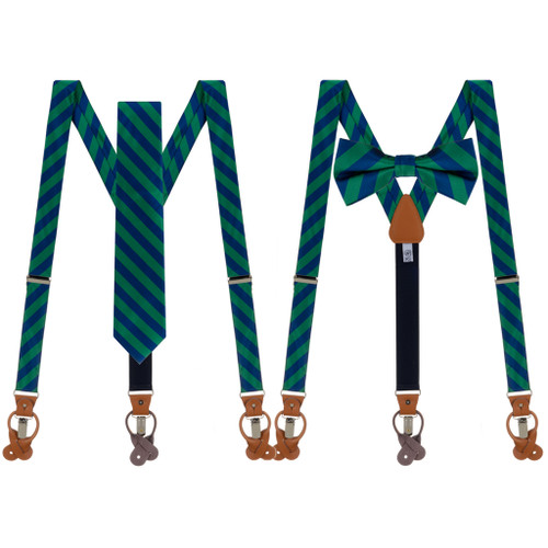 Tie and Suspender Sets - Navy & Lime Bold Stripe - Both Options