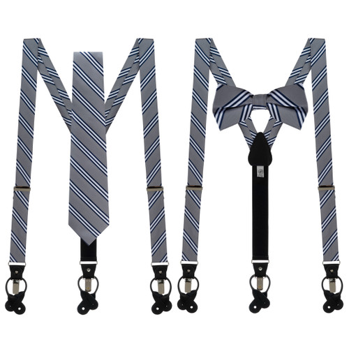 Tie and Suspenders Sets in Grey & Navy Multi Stripe - Both Options