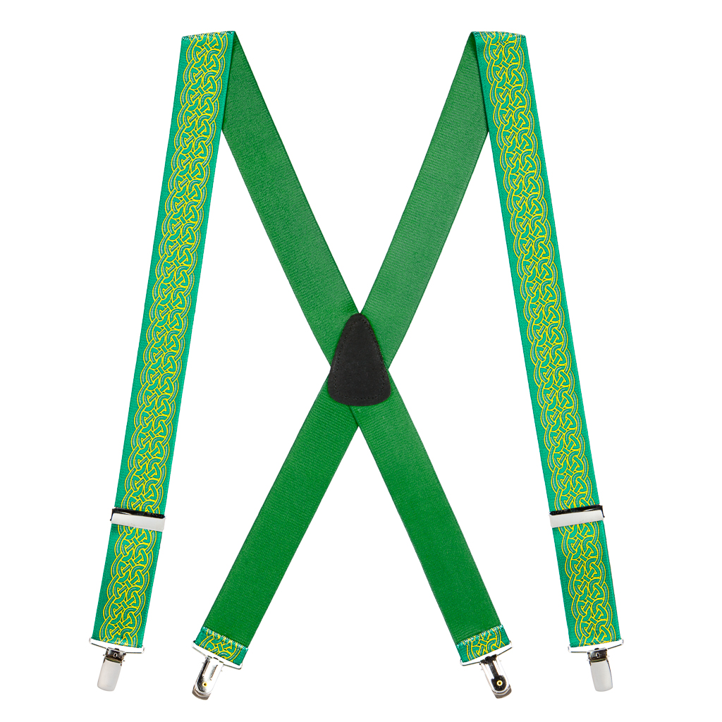 Irish Scroll Suspenders - Front View