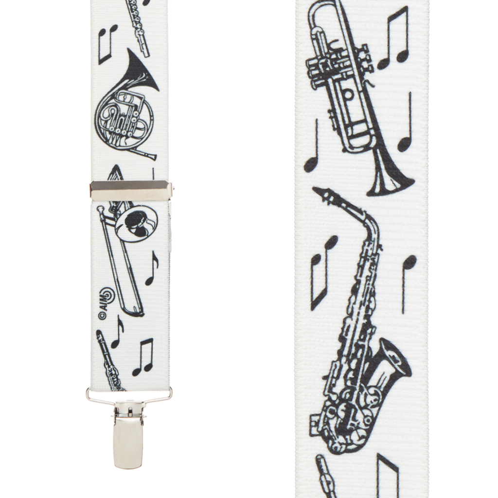 Musical Instruments Suspenders - Front View