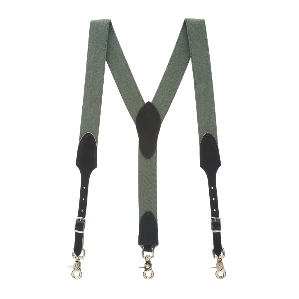 Rugged Comfort Suspenders in Cactus Green - Full View