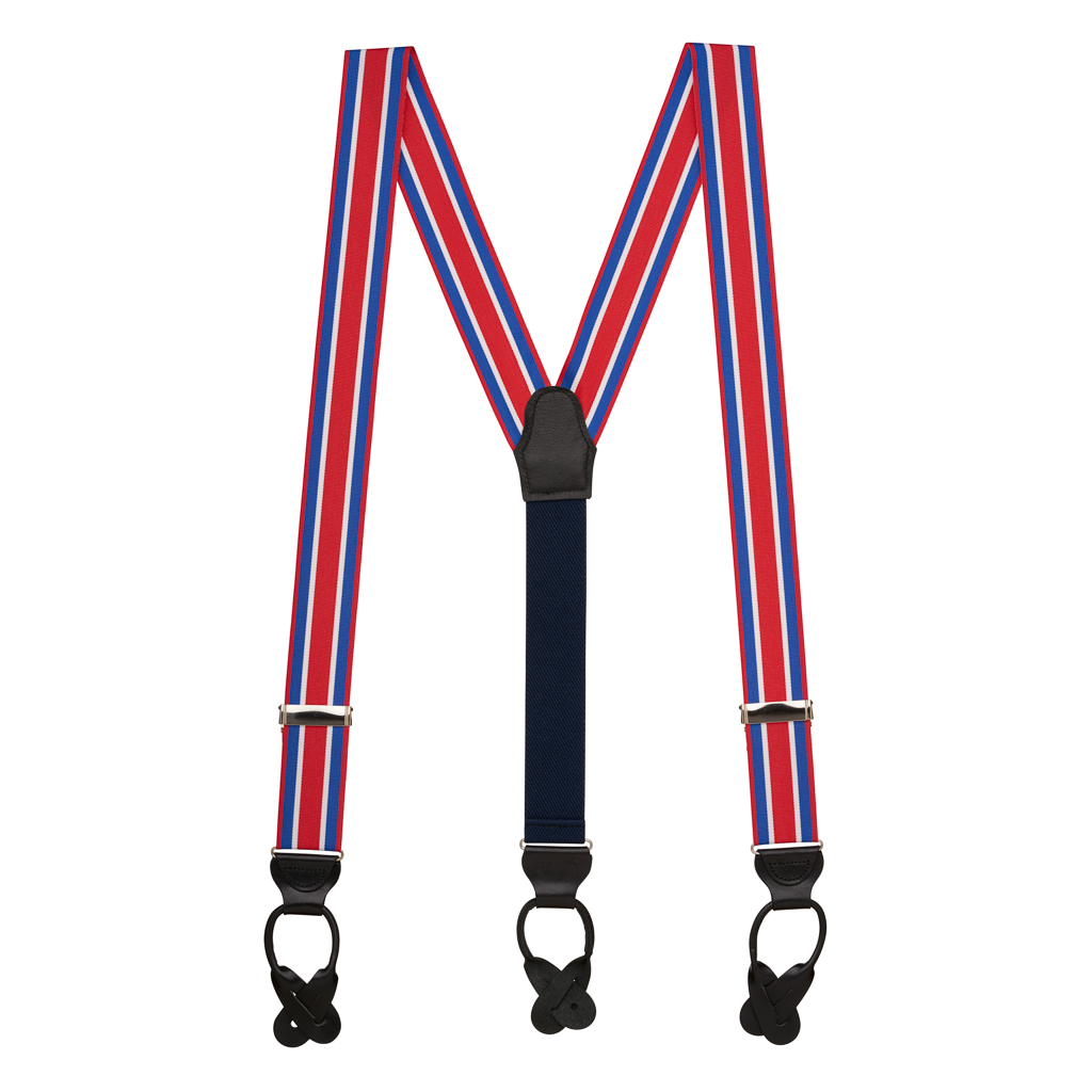 Grosgrain Button Suspenders - Red White Blue Stripe Full View